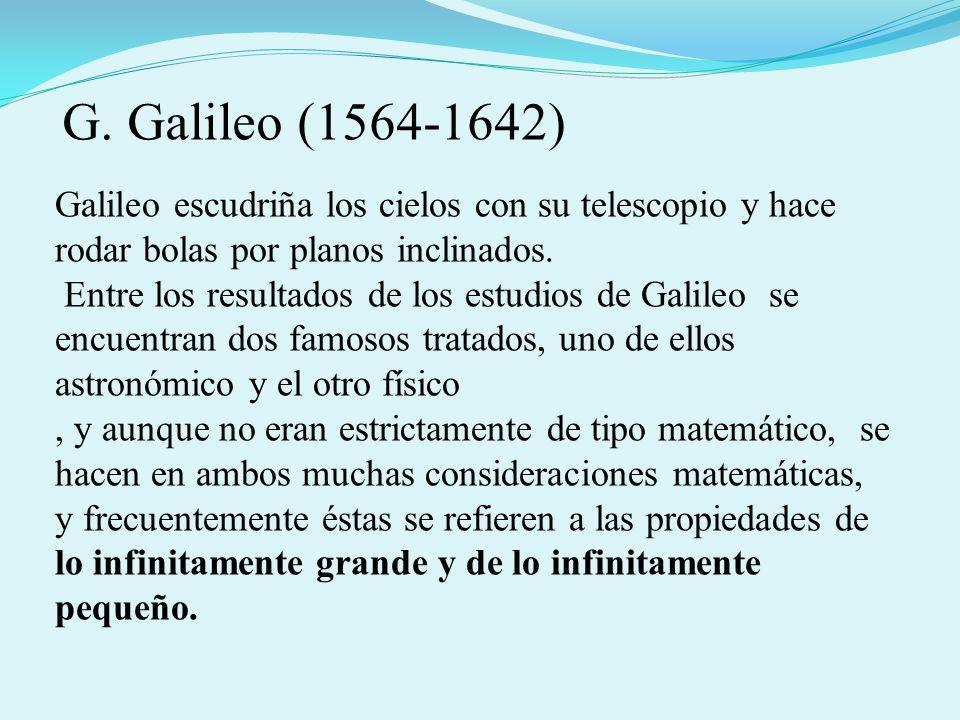 Galileo escudriña los cielos con su telescopio y hace rodar bolas por planos inclinados. Entre los resultados de los estudios de Galileo se encuentran