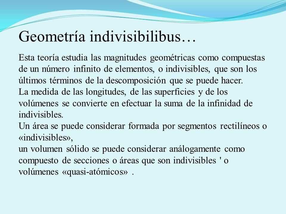Esta teoría estudia las magnitudes geométricas como compuestas de un número infinito de elementos, o indivisibles, que son los últimos términos de la