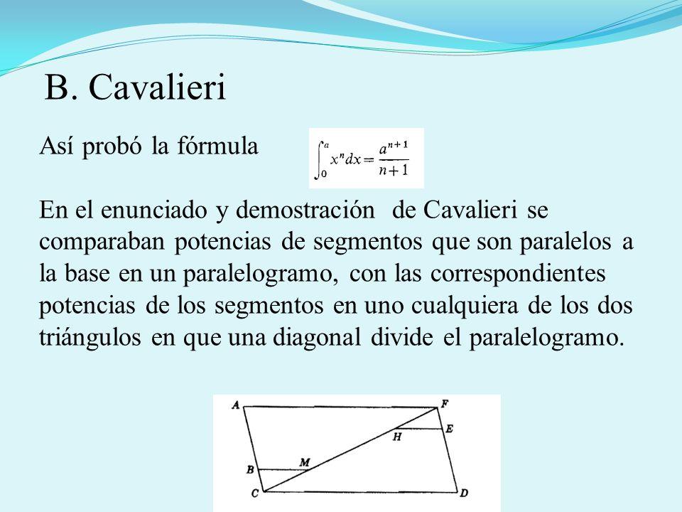 Así probó la fórmula En el enunciado y demostración de Cavalieri se comparaban potencias de segmentos que son paralelos a la base en un paralelogramo,