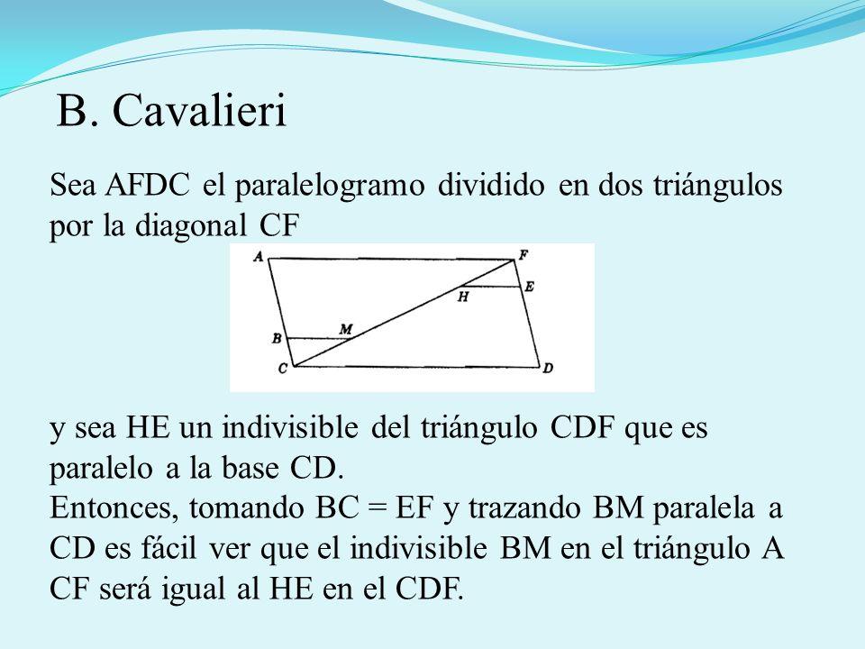 Sea AFDC el paralelogramo dividido en dos triángulos por la diagonal CF y sea HE un indivisible del triángulo CDF que es paralelo a la base CD. Entonc