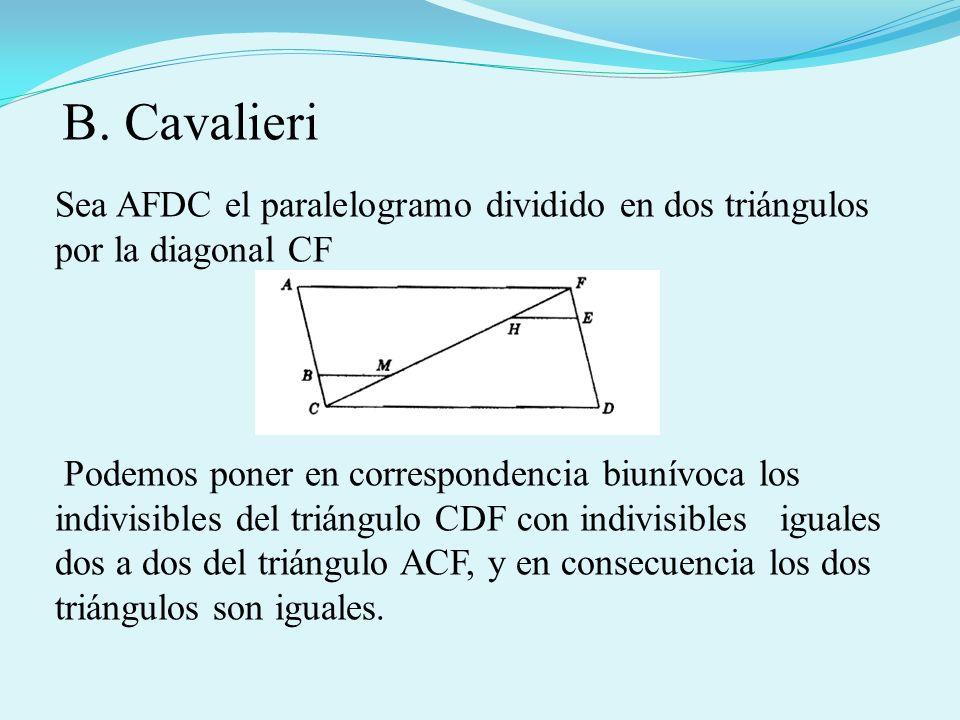 Sea AFDC el paralelogramo dividido en dos triángulos por la diagonal CF Podemos poner en correspondencia biunívoca los indivisibles del triángulo CDF