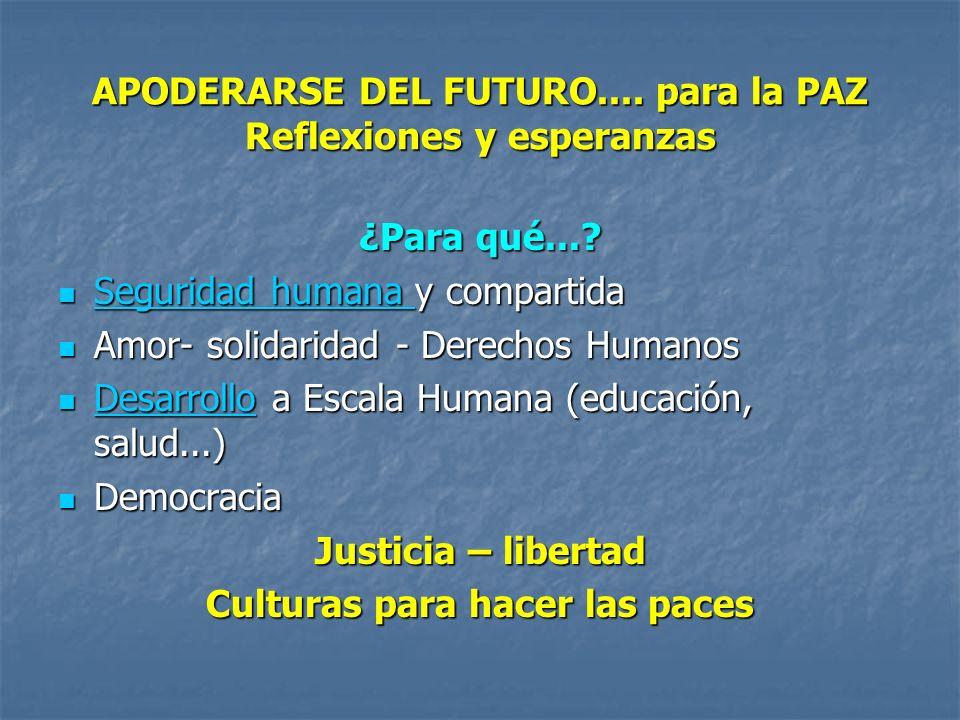 APODERARSE DEL FUTURO.... para la PAZ Reflexiones y esperanzas ¿Para qué....
