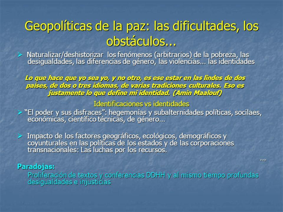 Geopolíticas de la paz y de los DDHH Complejidad y geopolíticas de la paz.