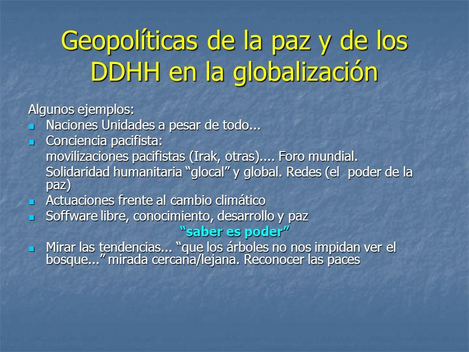 Geopolíticas de la paz y de los DDHH en la globalización Algunos ejemplos: Naciones Unidades a pesar de todo...