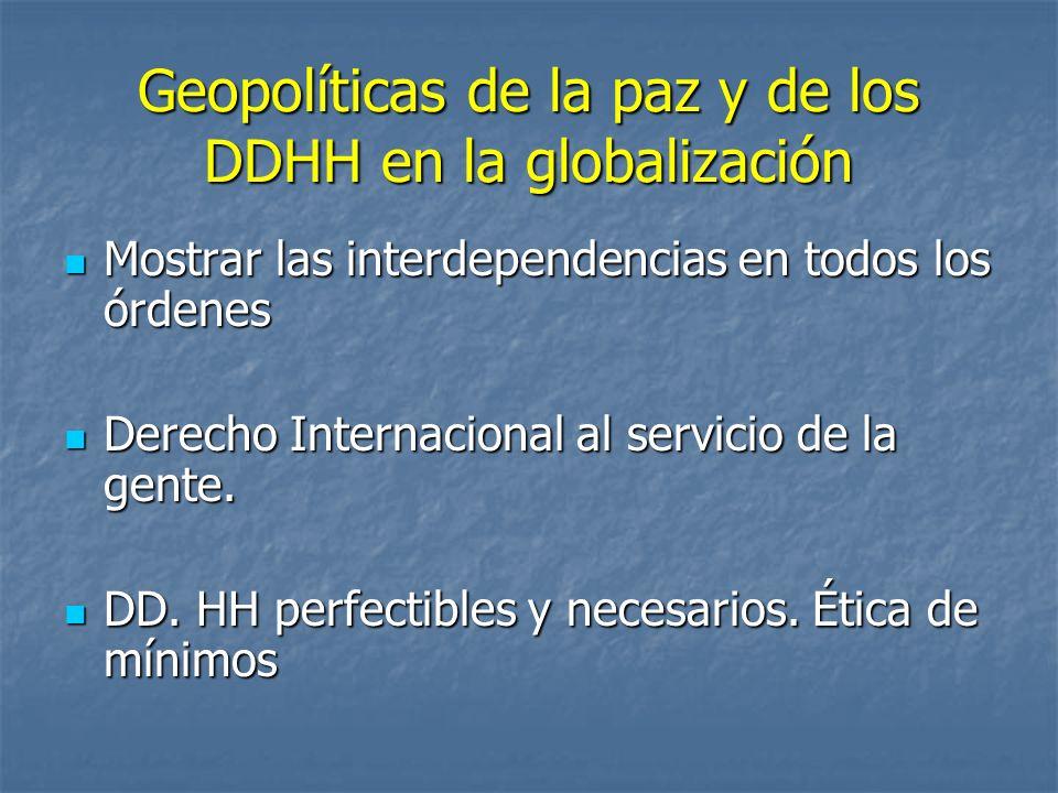 Geopolíticas de la paz y de los DDHH en la globalización Mostrar las interdependencias en todos los órdenes Mostrar las interdependencias en todos los órdenes Derecho Internacional al servicio de la gente.