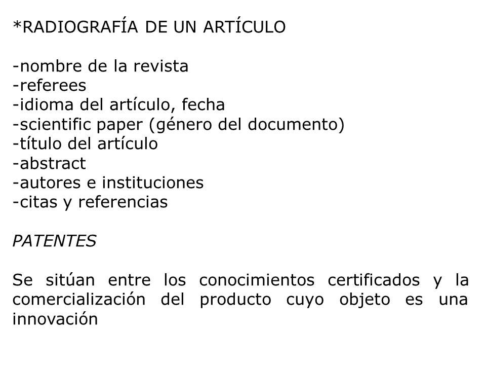 *RADIOGRAFÍA DE UN ARTÍCULO -nombre de la revista -referees -idioma del artículo, fecha -scientific paper (género del documento) -título del artículo