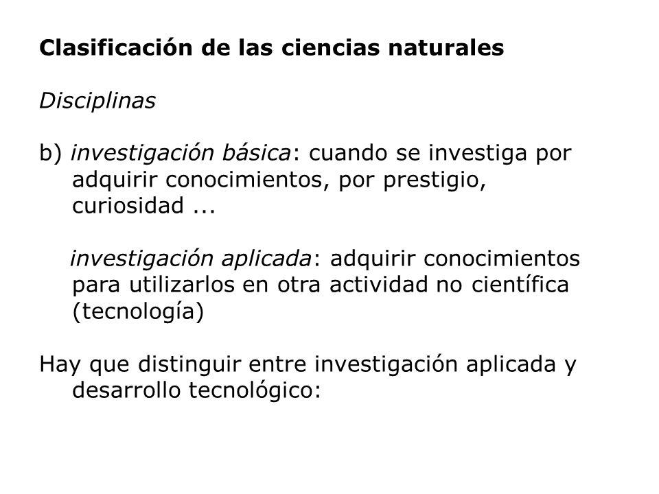 Clasificación de las ciencias naturales Disciplinas b) investigación básica: cuando se investiga por adquirir conocimientos, por prestigio, curiosidad