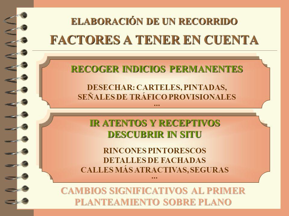 ELABORACIÓN DE UN RECORRIDO FACTORES A TENER EN CUENTA RECOGER INDICIOS PERMANENTES DESECHAR: CARTELES, PINTADAS, SEÑALES DE TRÁFICO PROVISIONALES...
