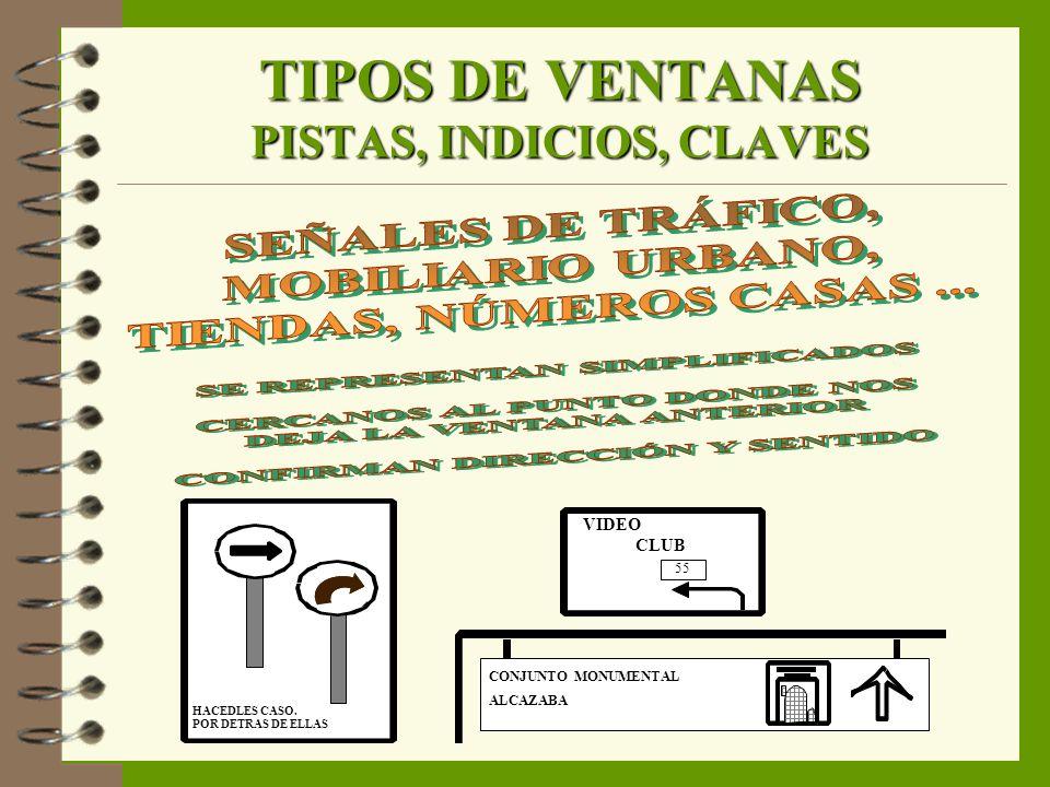 TIPOS DE VENTANAS PISTAS, INDICIOS, CLAVES HACEDLES CASO. POR DETRAS DE ELLAS 55 VIDEO CLUB CONJUNTO MONUMENTAL ALCAZABA