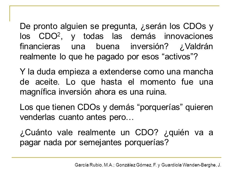 De pronto alguien se pregunta, ¿serán los CDOs y los CDO 2, y todas las demás innovaciones financieras una buena inversión.