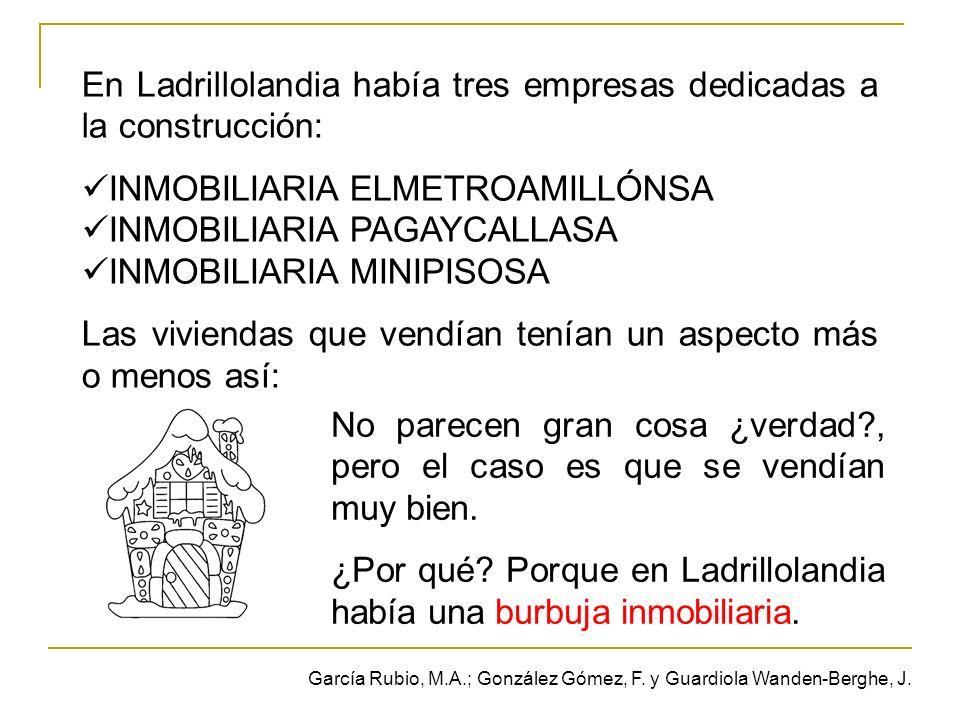 En Ladrillolandia había tres empresas dedicadas a la construcción: INMOBILIARIA ELMETROAMILLÓNSA INMOBILIARIA PAGAYCALLASA INMOBILIARIA MINIPISOSA Las