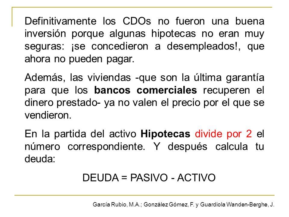 Definitivamente los CDOs no fueron una buena inversión porque algunas hipotecas no eran muy seguras: ¡se concedieron a desempleados!, que ahora no pueden pagar.