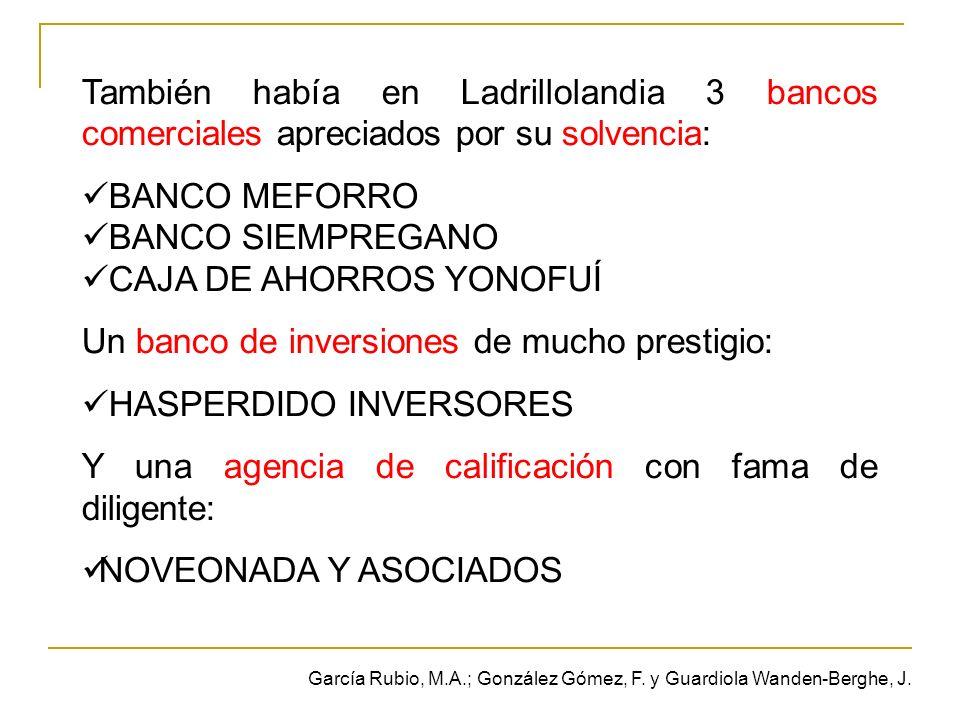 También había en Ladrillolandia 3 bancos comerciales apreciados por su solvencia: BANCO MEFORRO BANCO SIEMPREGANO CAJA DE AHORROS YONOFUÍ Un banco de inversiones de mucho prestigio: HASPERDIDO INVERSORES Y una agencia de calificación con fama de diligente: NOVEONADA Y ASOCIADOS García Rubio, M.A.; González Gómez, F.