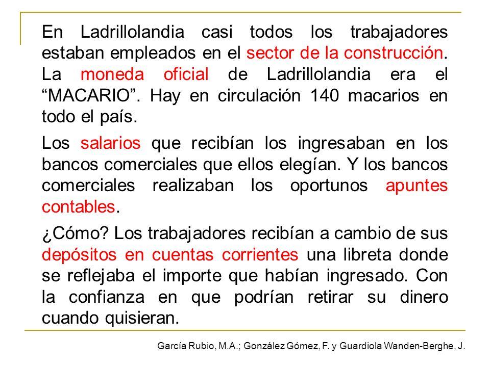 En Ladrillolandia casi todos los trabajadores estaban empleados en el sector de la construcción. La moneda oficial de Ladrillolandia era el MACARIO. H