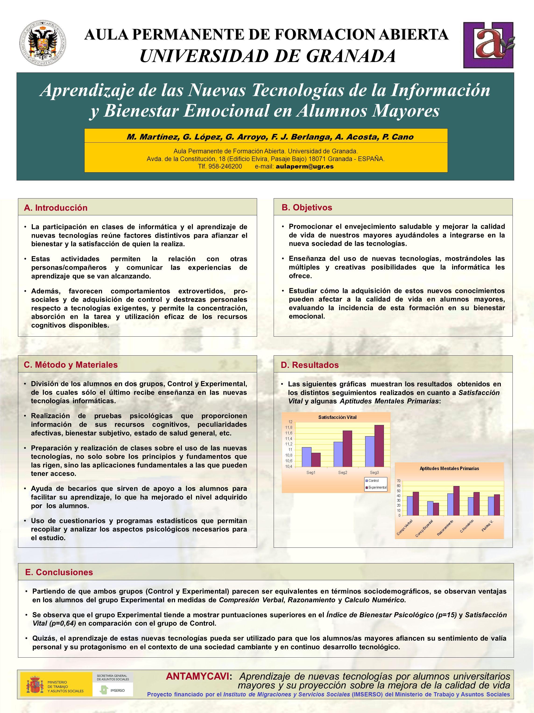 AULA PERMANENTE DE FORMACION ABIERTA UNIVERSIDAD DE GRANADA Aprendizaje de las Nuevas Tecnologías de la Información y Bienestar Emocional en Alumnos Mayores B.