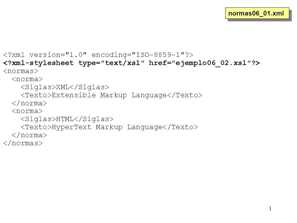 1 XML Extensible Markup Language HTML HyperText Markup Language normas06_01.xml