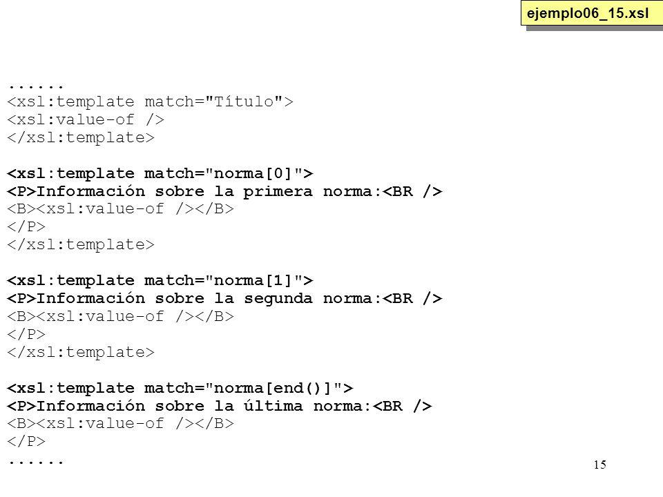 15...... Información sobre la primera norma: Información sobre la segunda norma: Información sobre la última norma:...... ejemplo06_15.xsl