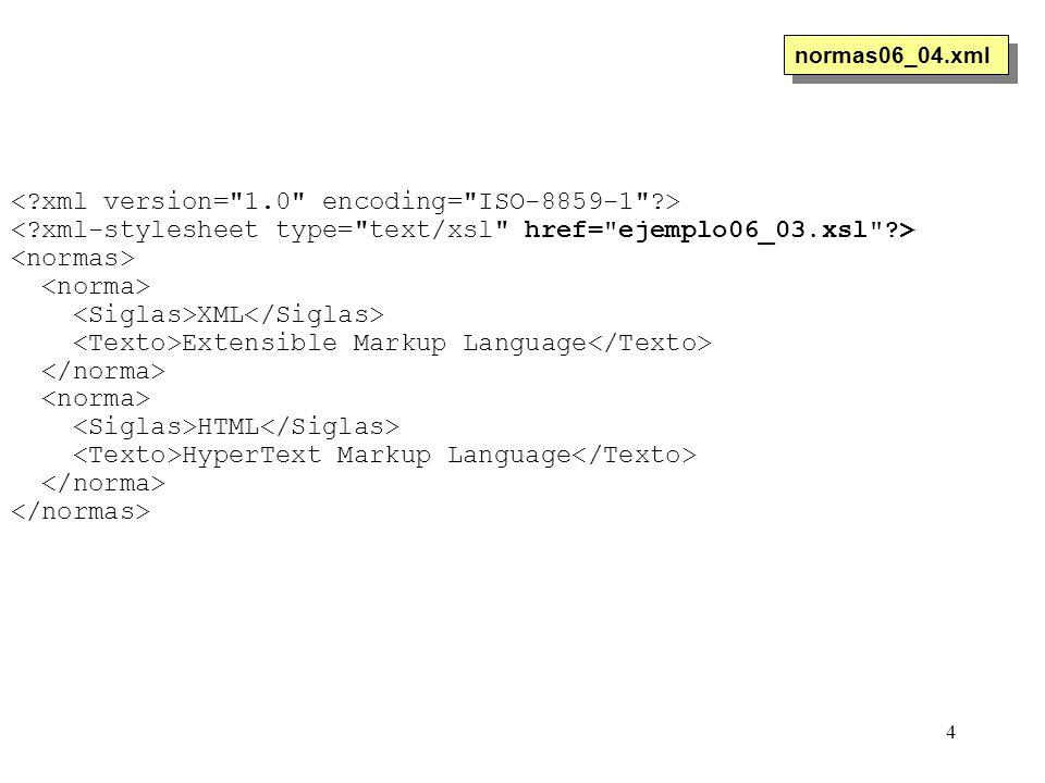 4 XML Extensible Markup Language HTML HyperText Markup Language normas06_04.xml