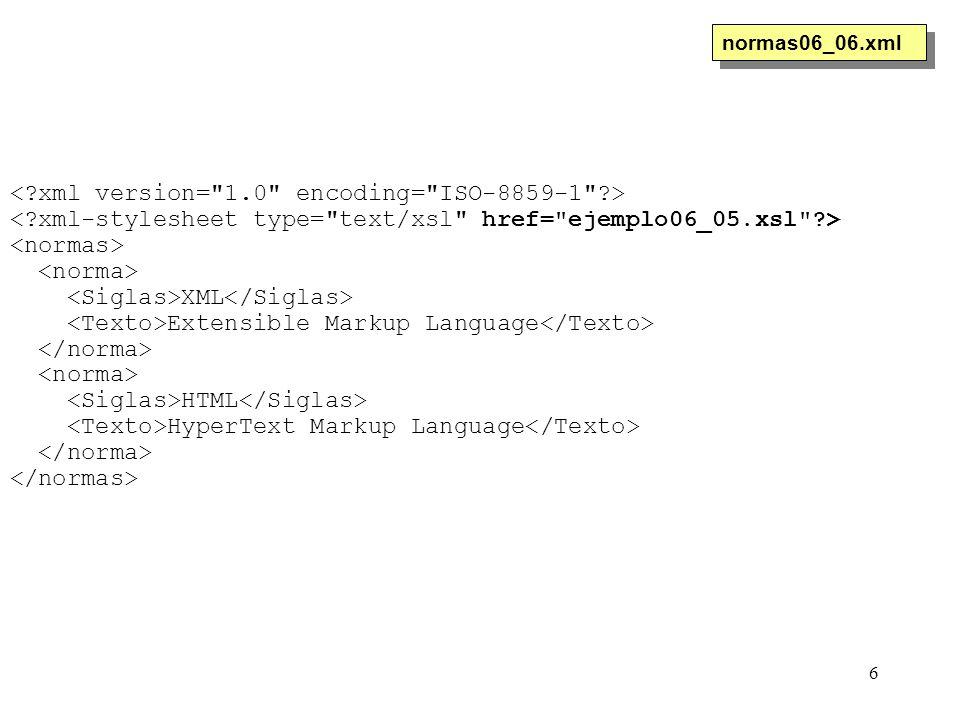6 XML Extensible Markup Language HTML HyperText Markup Language normas06_06.xml