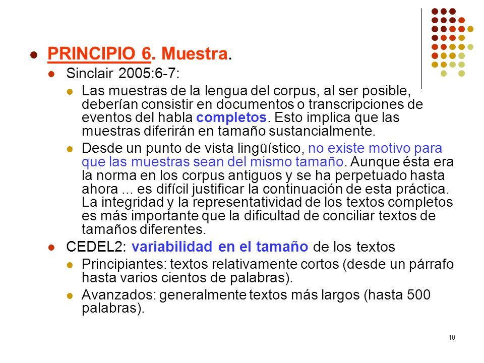 10 PRINCIPIO 6. Muestra. Sinclair 2005:6-7: Las muestras de la lengua del corpus, al ser posible, deberían consistir en documentos o transcripciones d