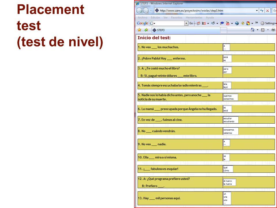15 Placement test (test de nivel)