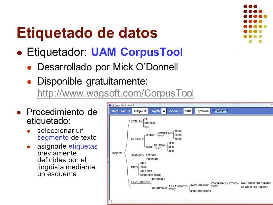 17 Etiquetado de datos Etiquetador: UAM CorpusTool Desarrollado por Mick ODonnell Disponible gratuitamente: http://www.wagsoft.com/CorpusTool http://w