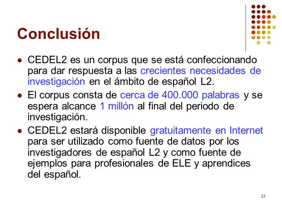 23 Conclusión CEDEL2 es un corpus que se está confeccionando para dar respuesta a las crecientes necesidades de investigación en el ámbito de español