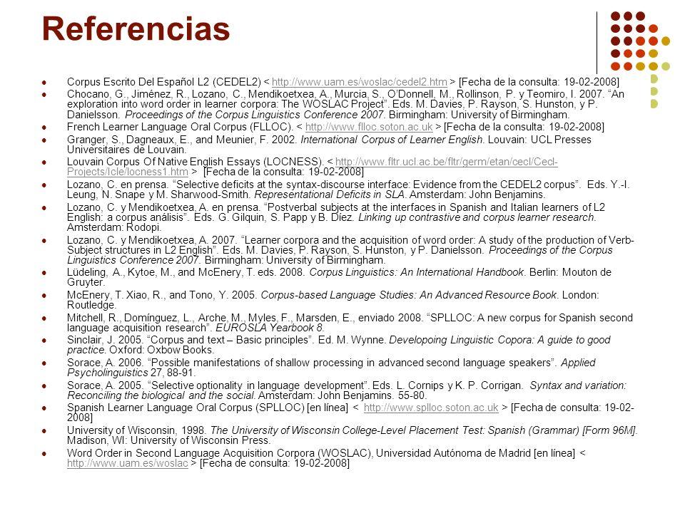 24 Referencias Corpus Escrito Del Español L2 (CEDEL2) [Fecha de la consulta: 19-02-2008]http://www.uam.es/woslac/cedel2.htm Chocano, G., Jiménez, R.,