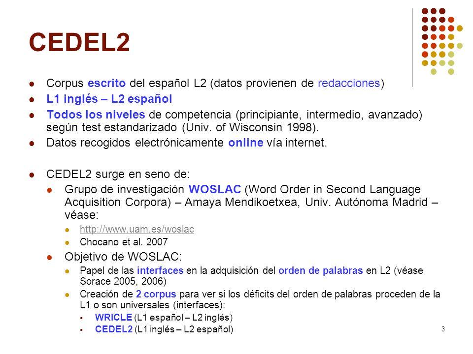3 CEDEL2 Corpus escrito del español L2 (datos provienen de redacciones) L1 inglés – L2 español Todos los niveles de competencia (principiante, interme