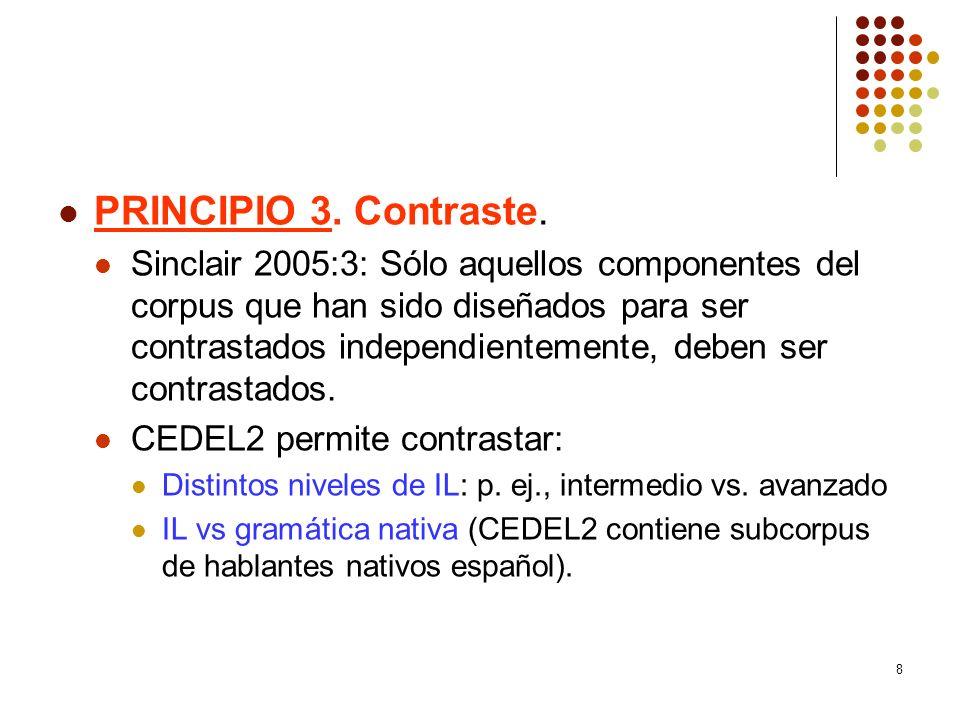 8 PRINCIPIO 3. Contraste. Sinclair 2005:3: Sólo aquellos componentes del corpus que han sido diseñados para ser contrastados independientemente, deben