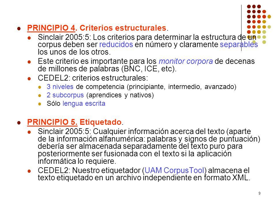 9 PRINCIPIO 4. Criterios estructurales. Sinclair 2005:5: Los criterios para determinar la estructura de un corpus deben ser reducidos en número y clar