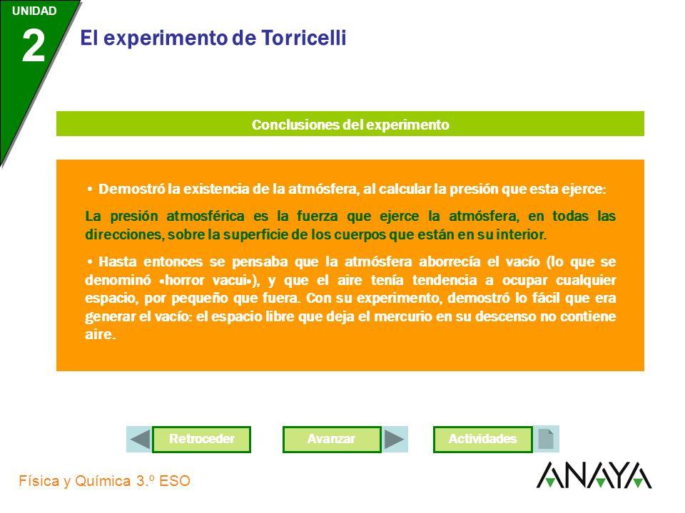 UNIDAD 2 Física y Química 3.º ESO El experimento de Torricelli AvanzarActividades En 1643, el científico italiano E. Torricelli cogió un tubo de un me