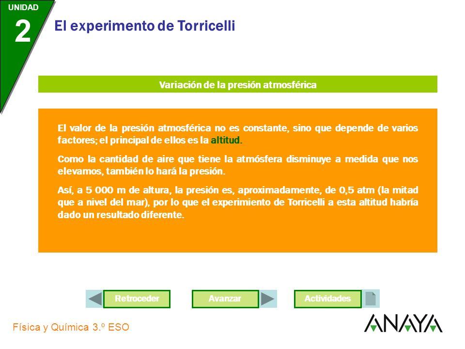 AvanzarRetroceder UNIDAD 2 Física y Química 3.º ESO El experimento de Torricelli Actividades Unidades de presión La fuerza que ejerce la atmósfera es