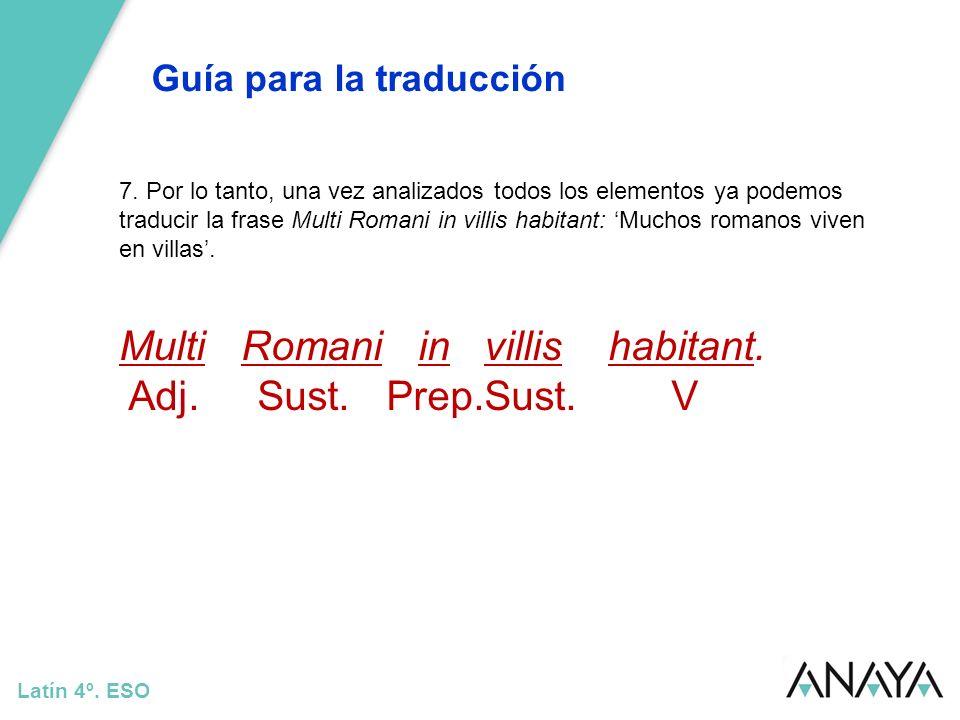 Guía para la traducción Latín 4º. ESO 7. Por lo tanto, una vez analizados todos los elementos ya podemos traducir la frase Multi Romani in villis habi