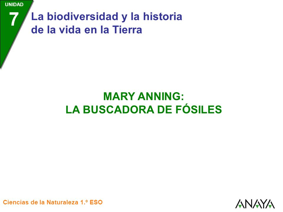 UNIDAD 7 La biodiversidad y la historia de la vida en la Tierra Ciencias de la Naturaleza 1.º ESO MARY ANNING: LA BUSCADORA DE FÓSILES