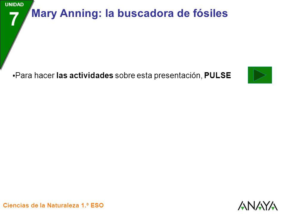 UNIDAD 3 Ciencias de la Naturaleza 1.º ESO UNIDAD 7 Mary Anning: la buscadora de fósiles Para hacer las actividades sobre esta presentación, PULSE