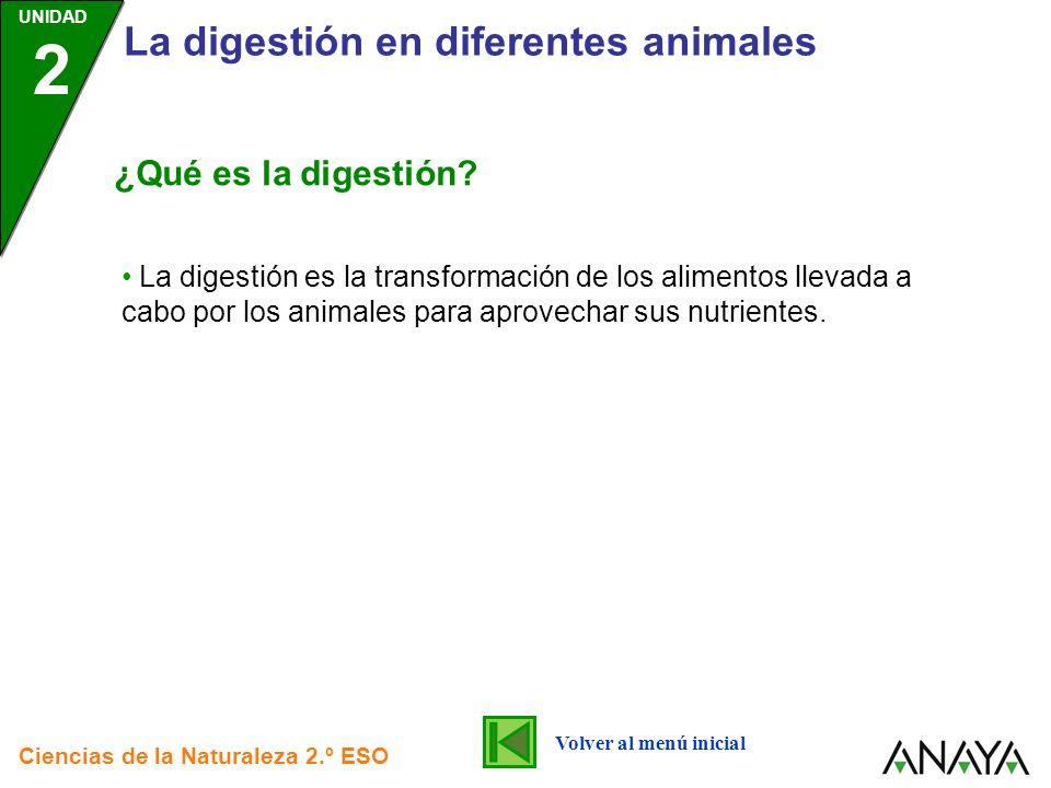 UNIDAD 2 La digestión en diferentes animales Ciencias de la Naturaleza 2.º ESO La digestión es la transformación de los alimentos llevada a cabo por l