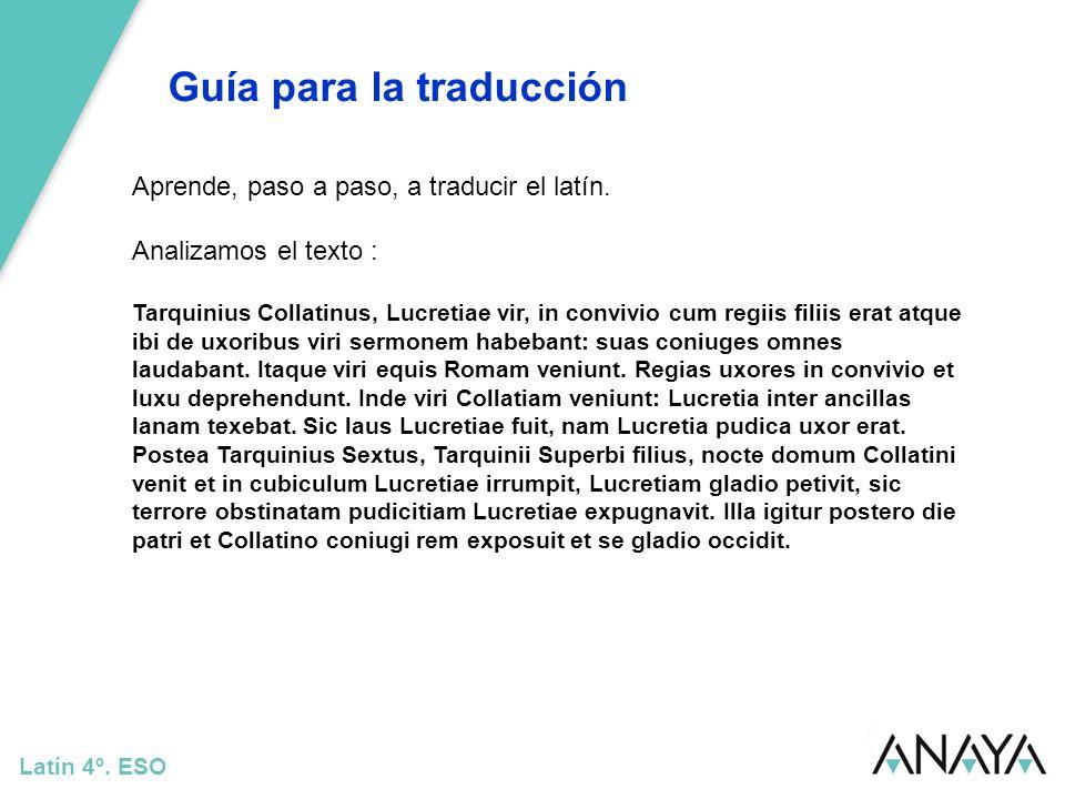 Guía para la traducción Latín 4º. ESO Aprende, paso a paso, a traducir el latín. Analizamos el texto : Tarquinius Collatinus, Lucretiae vir, in conviv
