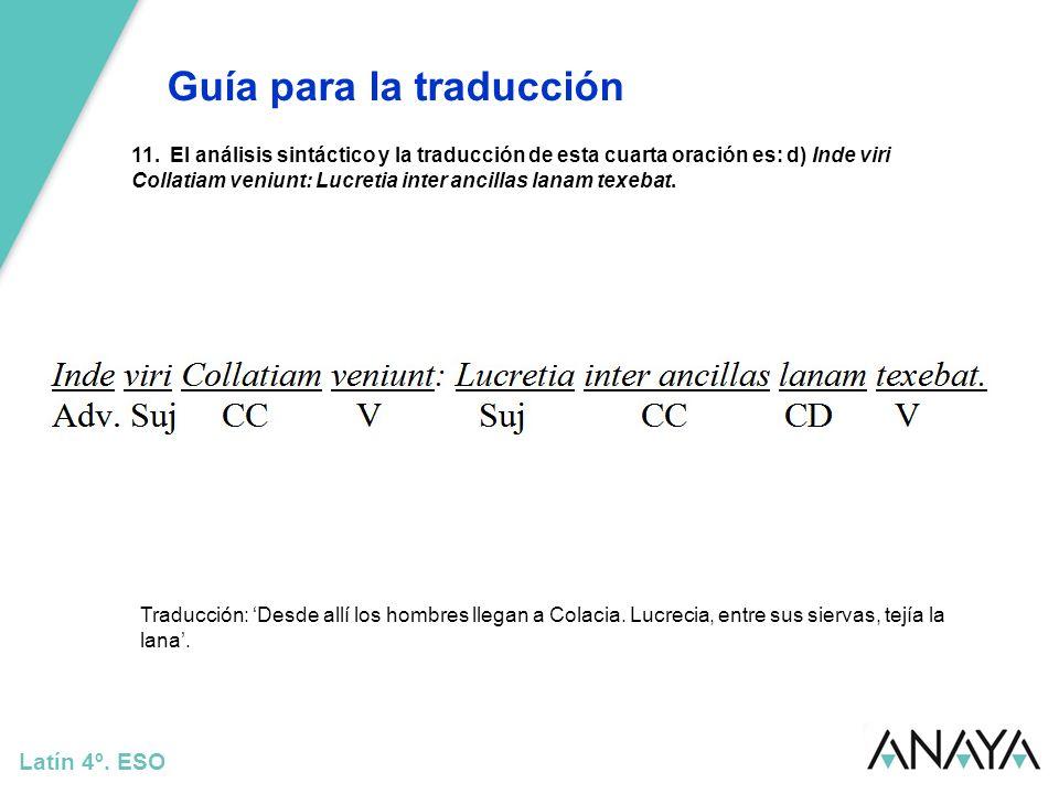 Guía para la traducción Latín 4º. ESO 11. El análisis sintáctico y la traducción de esta cuarta oración es: d) Inde viri Collatiam veniunt: Lucretia i
