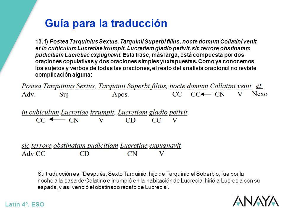 Guía para la traducción Latín 4º. ESO 13. f) Postea Tarquinius Sextus, Tarquinii Superbi filius, nocte domum Collatini venit et in cubiculum Lucretiae