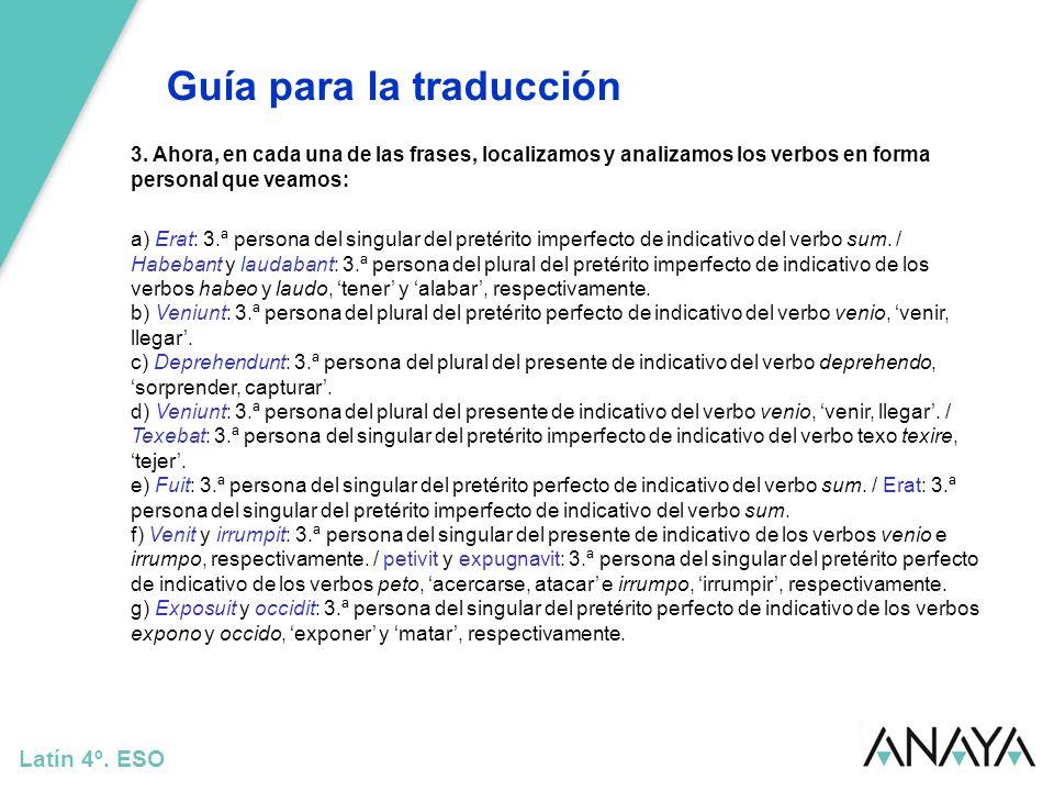 Guía para la traducción Latín 4º.ESO 13.