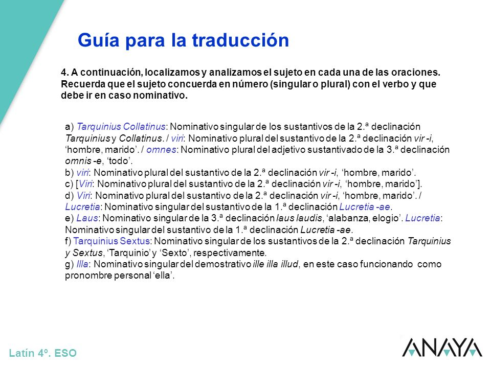 Guía para la traducción Latín 4º.ESO 5.