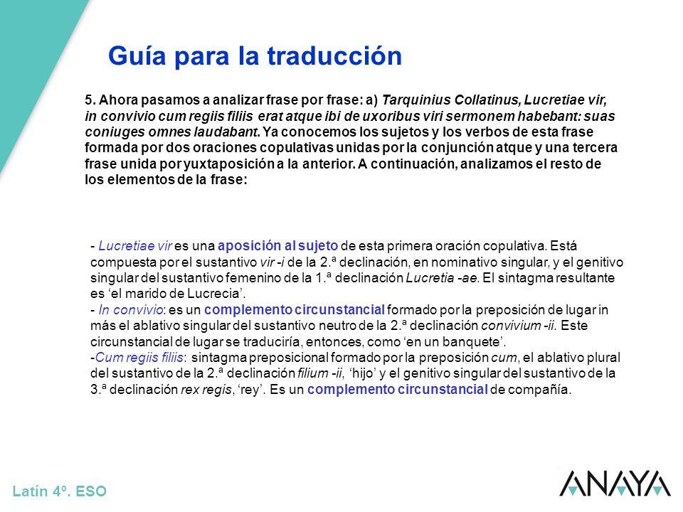 Guía para la traducción Latín 4º. ESO 5. Ahora pasamos a analizar frase por frase: a) Tarquinius Collatinus, Lucretiae vir, in convivio cum regiis fil