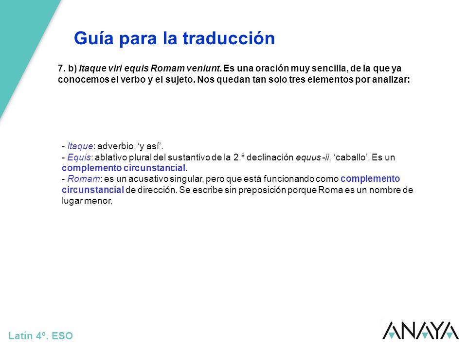 Guía para la traducción Latín 4º.ESO 8.