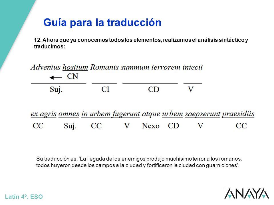 Guía para la traducción Latín 4º. ESO 12. Ahora que ya conocemos todos los elementos, realizamos el análisis sintáctico y traducimos: Su traducción es