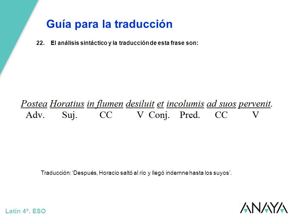 Guía para la traducción Latín 4º. ESO 22.El análisis sintáctico y la traducción de esta frase son: Traducción: Después, Horacio saltó al río y llegó i