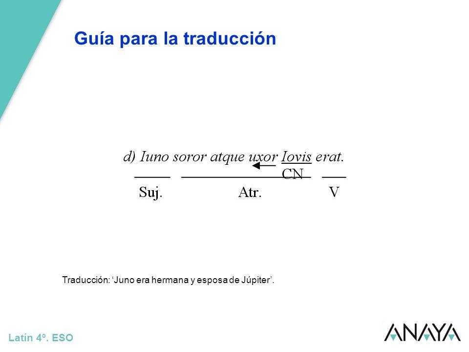 Guía para la traducción Latín 4º. ESO Traducción: Juno era hermana y esposa de Júpiter.
