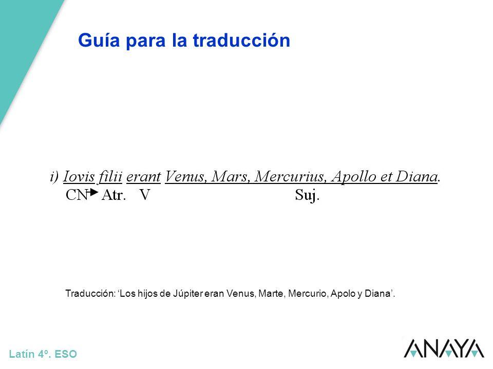 Guía para la traducción Latín 4º. ESO Traducción: Los hijos de Júpiter eran Venus, Marte, Mercurio, Apolo y Diana.