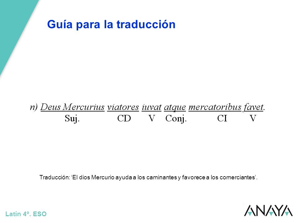 Guía para la traducción Latín 4º. ESO Traducción: El dios Mercurio ayuda a los caminantes y favorece a los comerciantes.