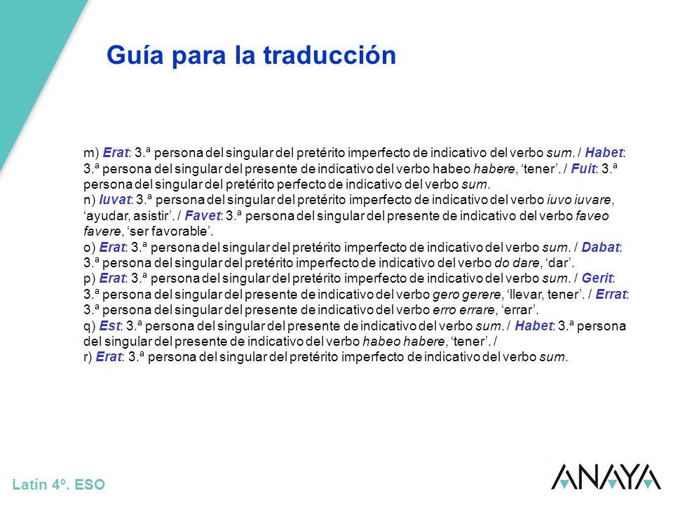 Guía para la traducción Latín 4º. ESO Traducción: De la cabeza de Júpiter (nació) Minerva.